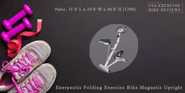 Exerpeutic Folding Exercise Bike Magnetic Upright with Pulse, 31.0' L x 19.0' W x 46.0' H (1200) - USA Exercise Bike